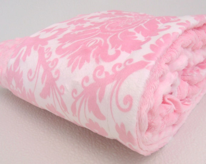 Pink Damask Minky Baby Blanket, also available in teen or adult sizesCan Be Personalized