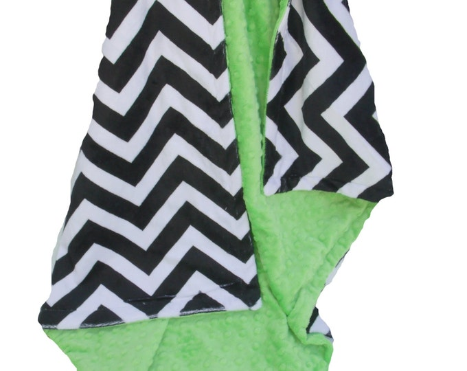 Black Chevron and Apple Green Minky Baby Blanket for Baby Girl or Boy