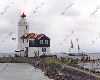 Marken Lighthouse on IJsslemeer & Tall Ship Netherlands Dutch Fine Art Photography Photo Print