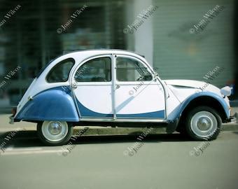 Vintage French Citroen Deux Chevaux Car Tours, France European Fine Art Photography Photo Print