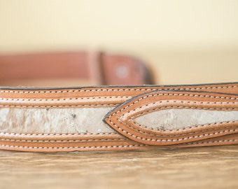 Simple Gorgeous Unworn Leather Calf Hair Belt Vintage and Gorgeous