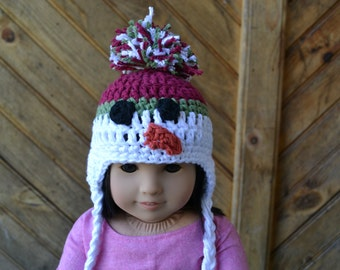 18 inch Doll Clothes - Crocheted Beanie with Ear Flaps - Snowman - MADE TO ORDER - fits American Girl