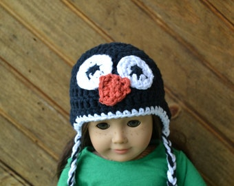 18 inch Doll Clothes - Crocheted Beanie with Ear Flaps - Polar Penguin - MADE TO ORDER - fits American Girl