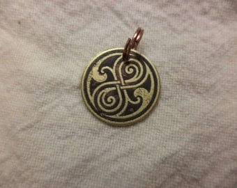 Dr. Who inspired etched brass charm