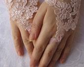 Bridal Wrist Cuffs, Pink Lace Gloves