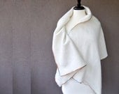 Pure cashmere shawl wrap in cream natural white - ready to ship