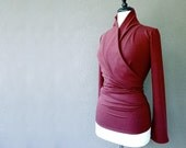 Organic wrap around cardigan shirt, handmade organic clothes,  berry red or more colors