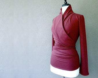 Organic tunic wrap top, wrap shirt, dark red sweater top, more colors, handmade organic clothes, wraparound top