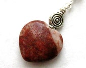 Irish Jewelry. Cork Red Marble Pendant. Red Heart.  Rósanna