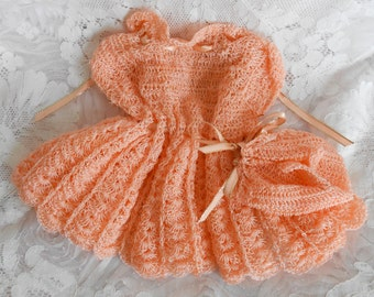 Tangerine Orange Hand Crocheted Doll Dress and Booties