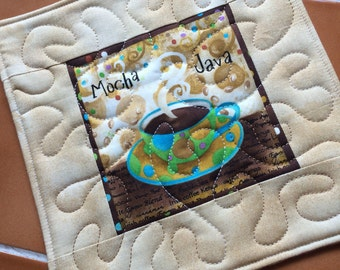 Zippy Java - Mocha Java Coffee Mug Rug or Candle Mat  Oversized Coaster / quilted / gift for her / Galaxy Fabric / office decor