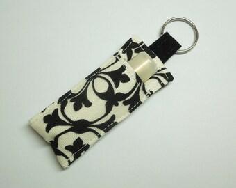 Lip Balm Key chain, Chapstick Holder, chap stick cozy keychain,ChapStick Keychain, Lipbalm pouch, lipstick case cozy- Black White lilly