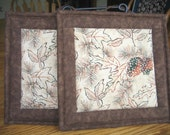 Leaves, Acorns and Pinecones Pot Holders - Set of 2
