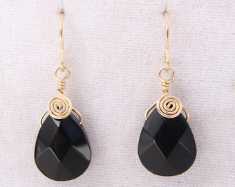 Wire Wrapped Black Glass Earrings