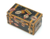Vintage Toy (c.1930's-1940's): Miniature Tin Travel Trunk by Marx with international Shipping Labels - dollhouse, room box, printer's tray