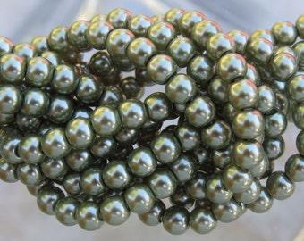 4mm Dark Olive Glass Pearl Beads 16 Inch Strand (BS528)