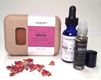 Aphrodisiac gift set. Romantic gift. All natural aromatherapy gift set. Soap. Perfume. Massage oil