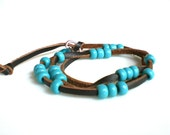 Boho Wrap Bracelet Wrap Anklet Leather Wrap Bracelet Chocolate Brown Turquoise Beaded Bracelet   Beach Jewelry Turquoise Anklet