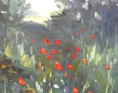 """Small Landscape Painting, Poppy Painting, """"Mountain Poppy field"""" by Carol Schiff, 8x10"""" Oil"""