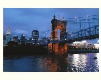 Roebling Bridge & Cincinnati at Night Photo Note Card - Set of TEN