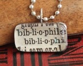 vintage dictionary, pendant necklace, bibliophile