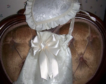 Teardrop Hat, Ladies Ivory brocade  Victorian Civil War with Satin ribbons and retucule with lace
