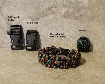 Dark Stripes Survival Bracelet Paracord 550 para cord compass girls Boys Childs Hiking Backpacking Camping Gear Accessories