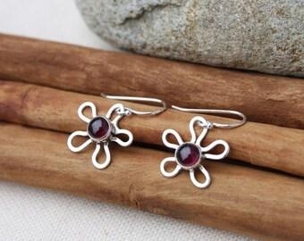 Flower earrings. Ruby. garnet.  Bright Pink. Red. Sterling Silver Earrings. Spring. beautiful earrings. fun and pretty