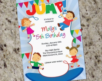 JUMP!  Trampoline Bounce House Foam Pit Kid's Gym Invitations - Boy or Girl - Any Age