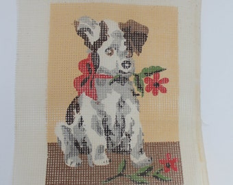 Vintage Cross Stitch Pattern on Canvas DOG with Flower Needlework Project Puppy