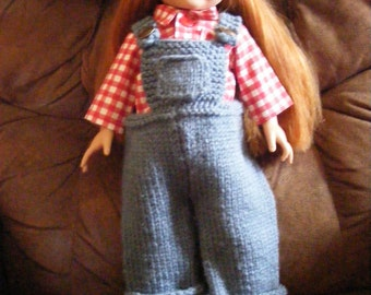 AG Doll Farmer Overalls and Red Gingham Shirt Outfit
