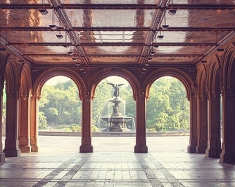 Early Morning in Central Park, Bethesda Arches in Central Park, New York City Photography, New York City, Gold, Light, Bethesda Fountain