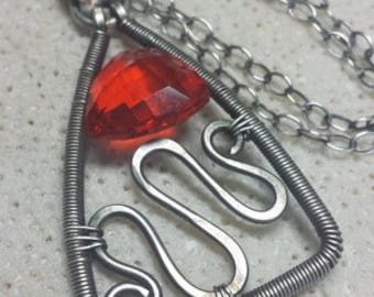 Sterling Silver Necklace and Large Quartz - Bright Orange Crush - Gemstone Wire Wrapped -Handmade