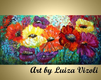 SUMMER POPPIES Original Oil Painting Large Abstract Canvas Ready to Ship on SALE Now Art by Luiza Vizoli