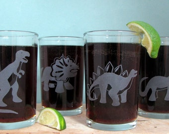 Dinosaur Set of Four | Etched  Glass Tumblers | Dinosaur Gift | Science Gift | Dinosaur Decor | Funny Glasses