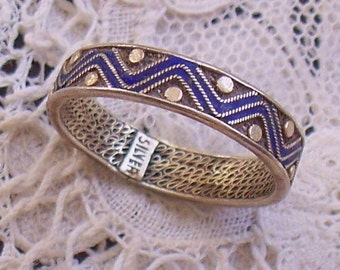 Chinese Silver Enamel Ring - Sterling, Band, Filigree, Signed, Blue, 925