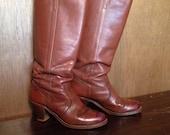 Dex vintage brown leather women's boots