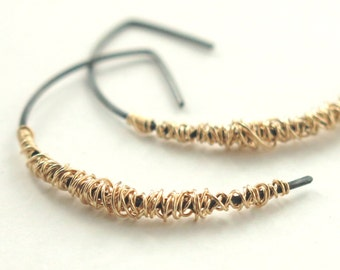 SIMPLI . Mixed Metal Half Hoops in goldfill, oxidized silver