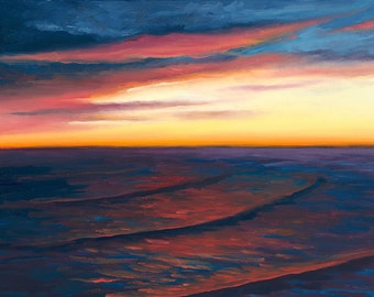 5x7 Greeting Card by Daina Scarola, Item #GC5X7-41 (sunset, beach, waves, dusk, clouds)