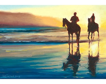 5x7 Greeting Card by Daina Scarola, Item #GC5X7-22 (sunset, beach, horses, two silhouettes)