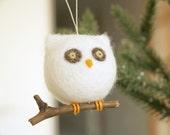 Owl Christmas Ornament, Needle Felted Wool, Woodland Barn Owl, Snow White, Felt, Winter Wonderland, Natural, Eco Friendly, Bird, Cute, Wood