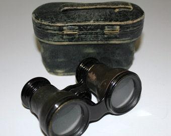 Vintage Opera Glasses Binoculars French Lemaire Fabt Paris Leather Wrap Case