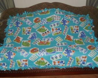 Dogs Cats on Blue Blue Back Fleece Tie Blanket No Sew Fleece Blanket Pet Blanket Dog Blanket Cat Blanket 48x60 Approximate size