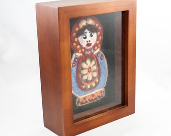 SALE - Needle Felted Fiber Art - Martryoshka Doll (Cherry Frame)
