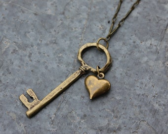 Rustic Antiqued Brass Key to My Heart Necklace - funky key, puffed heart charms, on brass bar link chain - long necklace, free shipping USA