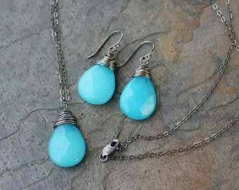 Stormy sea necklace & earring set - bright aqua jade drop wrapped in oxidized sterling silver wire - free shipping USA