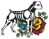 Modern Cross Stitch Kit ' Skeleton Boxer ' By Illustrated Ink - Dog Day of the Dead Needle Craft Pattern with DMC Materials