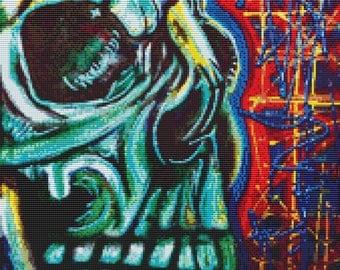 Skull Cross Stitch Kit 'Being Human' By Laura Barbosa - NeedleCraft Kit - Modern Art
