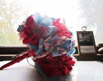 Vintage Fabric Bridal Bouquet *  Circus Theme * Vintage Wedding * Vintage Clowns * Carnival Weddings * OOAK Handmade * Vintage Flowers