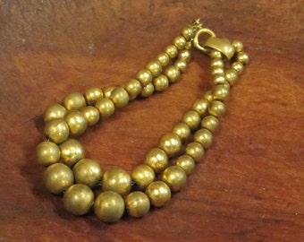 Beautiful Brass Bead Bracelet  Vintage 1950's